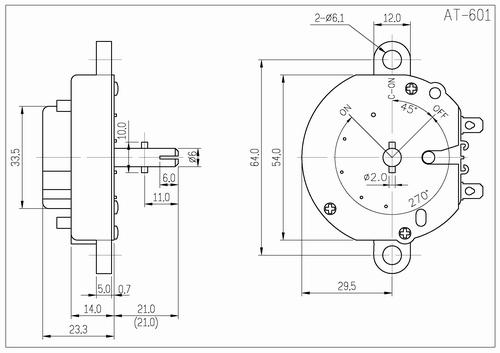 10pc 60 minutes mechanical timer 6  3a 125  250vac  u03c668mm